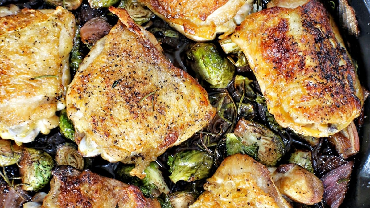 Dan's simple dish of chicken and vegetables is enhanced with red wine.