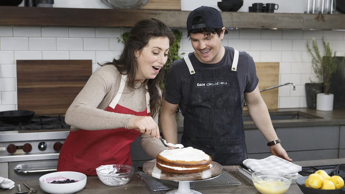 Dan develops and tests his recipe for Olive Oil and Lemon Curd Cake.